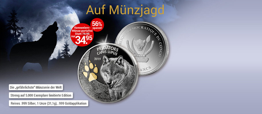 """# Auf den Spuren der gefährlichsten Raubtiere ...#    **Starten Sie jetzt diese einzigartige Münz-Kollektion mit einer tollen Ersparnis! **  **Die Erstausgabe der neuen Kollektion """"Predators"""" (Raubtiere) zeigt den Canis Lupus, den Wolf, auf reinem .999 Silber. Nach der Prägung wurde die Münze mit einer technisch aufwändigen Applikation für Chrom- und Glanzeffekte versehen und die Abdrücke der Wolfspfote auf der Münze mit reinem .999 Gold veredelt. Dadurch entstand ein faszinierender 3-D-Effekt!**  **Gehen Sie auf Münzjagd! Ihre Startausgabe """"Canis Lupus - Der Wolf"""" erhalten Sie mit € 45 Preisvorteil - versandkostenfrei!**    {{ button href=""""/weltbild-editionen/schoenes-wertvolles/predators/bestellen"""" text=""""Jetzt bestellen""""}}"""