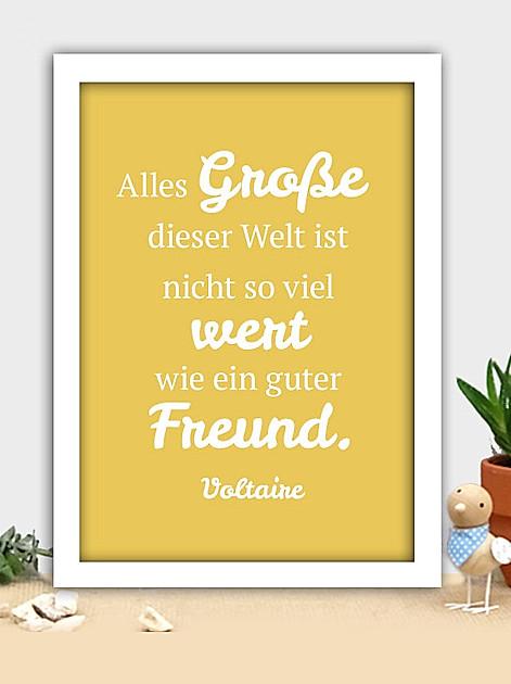 Alles Grosse dieser Welt ist nicht so viel wert wie ein guter Freund. Voltaire