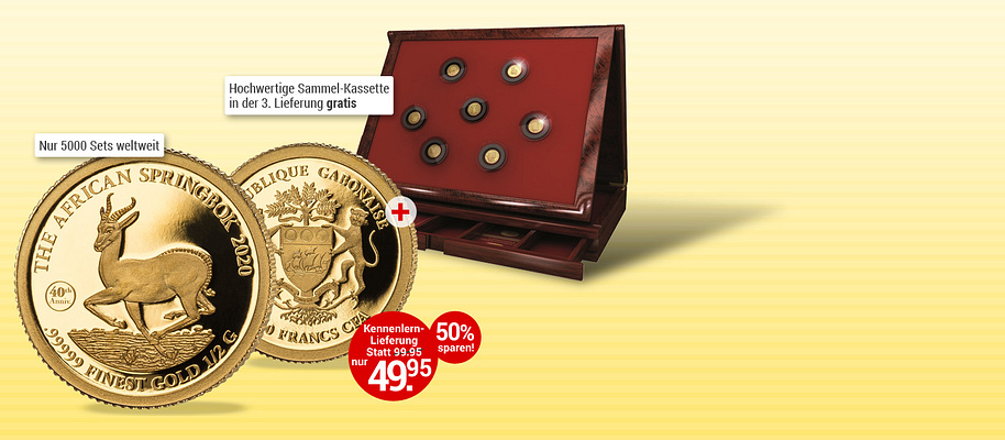 """# Goldmünzen-Klassiker in exklusiver Präsentation! 1967 begann die Erfolgsgeschichte des Springbock-Motivs auf der meistverkauften Gold-Anlagemünze der Welt, dem südafrikanischen Krügerrand. Diese exklusive Münze ehrt den Klassiker auf einzigartige Art und Weise: in reinstem .99999 Gold! Die Münze erschien zunächst im Gewicht von einer Unze. **Wegen des großen Erfolgs wurde der berühmte Springbock ab 1980 in Stückelungen unter einer Unze angeboten. Mit einer Auflage von lediglich 25.000 Exemplaren ist der Jubiläums-Springbock 2020 jedoch streng limitiert.** Greifen Sie darum gleich zu und holen Sie sich den Springbock in reinstem Gold in Ihre Sammlung - mehrwertsteuer- und versandkostenfrei! Eine wunderbare Anlage-Variante, die Sie sich nicht entgehen lassen sollten! Im weiteren Verlauf Ihrer Sammlung erhalten Sie die edle Aufbewahrungskassette gratis dazu.  1.000 Francs CFA   Gabun   2020,  0,5g  .99999 Gold, ø = 11 mm, Jubiläumsstempel: 40th Anniversary (40. Jahrestag)    {{ button href=""""/weltbild-editionen/schoenes-wertvolles/goldmuenzen-klassiker/bestellen"""" text=""""Jetzt bestellen""""}}"""