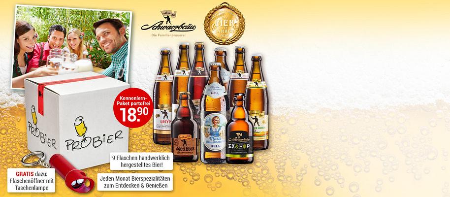 """#Bierspezialitäten zum Entdecken, Genießen oder Verschenken Sind Sie Bierliebhaber und probieren gerne etwas Neues? Oder suchen Sie das besondere Geschenk? Dann wird Sie dieses Angebot begeistern: Die große **ProBier-Box mit 9 Flaschen regionaler Bierspezialitäten** kleiner handwerklicher Brauereien in Deutschland, die nur schwer oder gar nicht im Handel zu finden sind. Immer dabei: **Das Bier des Monats, preisgekrönt von Biersommeliers**. Schmecken Sie hochwertige, deutsche Biervielfalt und tauchen Sie ein in eine lebendige Bierkultur.  Starten Sie jetzt mit **9 handwerklich gebrauten und international ausgezeichneten Bieren** der Familienbrauerei Schwarzbräu aus Zusmarshausen. In Ihrem Paket dabei: **Marie Hausbrendel Hell** – vom ProBier-Club zum Bier des Jahres 2020 gewählt. Außerdem enthalten: **Aged Bock**, der Sieger des World Beer Awards in London 2019.  **GRATIS dazu:** die **ProBier-Zeitung** und die **LED-Taschenlampe mit Flaschenöffner** als Dankeschön für Ihre rasche Bestellung.  **Bestellbar ab 18 Jahren.**  {{ button href=""""/weltbild-editionen/hobby-praxiswissen/bier/bestellen"""" text=""""Jetzt bestellen""""}}"""