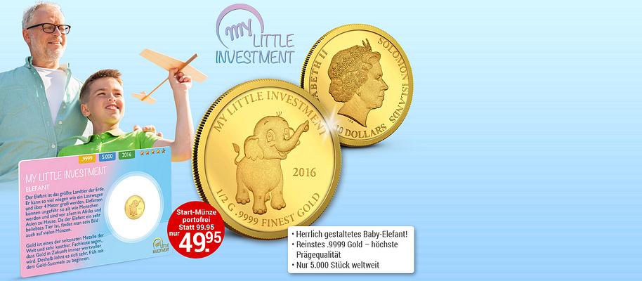 """#Goldmünzen - Mein erster Goldschatz **""""Wenn die Kinder klein sind, gib ihnen Wurzeln. Wenn sie groß sind, gib ihnen Flügel.""""**  Dies sagt ein altes Sprichwort aus China. """"Flügel geben"""" bedeutet für die Zukunft der Kinder und Enkel zu sorgen.  Spielzeug ist vergänglich. Gold bleibt! **Beginnen Sie jetzt, für die Zukunft Ihrer Kinder vorzusorgen: mit der Goldmünzen-Serie """"My Little Investment"""". ** Die wunderschönen Tierbaby-Motive dieser limitierten Münzen aus reinem Gold begeistern Kinder für das Thema Münzensammeln und Gold - und schaffen gleichzeitig bleibende Werte. Es handelt sich um die weltweit erste Goldmünzen-Serie, **die sich speziell an Eltern, Großeltern und Kinder richtet. ** Ob als Geschenk zu besonderen Anlässen oder als kleines Gold-Depot - mit der innovativen Investment-Serie aus reinem .9999 Gold haben Sie den Grundstein für finanzielle Unabhängigkeit gesetzt. **""""My Little Investment"""" - Münzen mit Wertsteigerungs-Potenzial!** Jede Münze wird aus reinem .9999 Gold in der höchsten Prägequalität """"Polierte Platte"""" geprägt und erfüllt höchste internationale Sammler-Standards. Achtung: Von jeder Münze werden weltweit nur 5.000 Exemplare geprägt. **Pro Haushalt ist maximal 1 Bestellung möglich Handeln Sie rasch, bevor Ihre Münze mit dem Baby Elefant-Motiv vergriffen ist!  ** {{ button href=""""/weltbild-editionen/schoenes-wertvolles/littleinvestment/bestellen"""" text=""""Jetzt bestellen""""}}"""