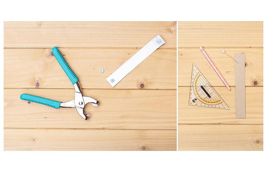 Das brauchen Sie: Lineal und Stift, Druckknöpfe, Zange und eine spitze Nadel