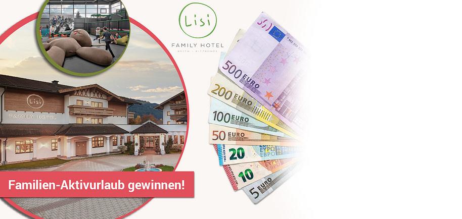"""Gewinnen Sie 2020 Preise im Gesamtwert von € 250.000.- Machen Sie jetzt mit und nutzen Sie Ihre Chance auf tolle Preise und Bargeld Gewinne!  Gewinnen Sie  1 Familien-Aktivurlaub (7 Nächte) für 2 Erwachsene und 2 Kinder inklusive Vitalfrühstück und 5-Gang-Gourmetdinner im Lisi Family Hotel**** in Reith bei Kitzbühel.     Das LISI Family Hotel ist der Hit für bewegungshungrige Familien!  Genießen Sie 7 Nächte in einer unserer großzügigen Familien-Suiten mit 2 getrennten Schlafzimmern und 2 Bädern, die genügend Raum lassen, um sich zu entfalten. Starten Sie energiegeladen mit dem üppigen Vitalfrühstück in den Tag und freuen Sie sich auf das 5-gängige Gourmetdinner am Abend. Bei uns finden Sie alles was das Familien-Herz begehrt. Der riesige Indoor-Spielplatz """"LISI World"""", 7 Tage Kinderbetreuung, Familien-Suiten und die imposante Kitzbüheler Bergwelt vor der Hoteltüre sind nur einige der vielen Highlights im Urlaub in Tirol.   www.lisihotel.com    {{ button href=""""https://weltbild.smart-gewinnen.de/?country=de"""" text=""""Jetzt mitmachen""""}}"""