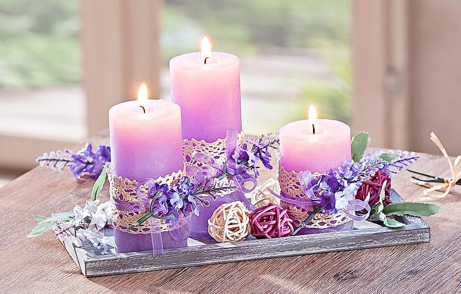 "Kerzenset ""Lavendel"""