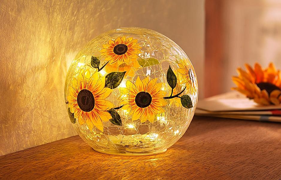 LED Glaskugel Sonnenblume