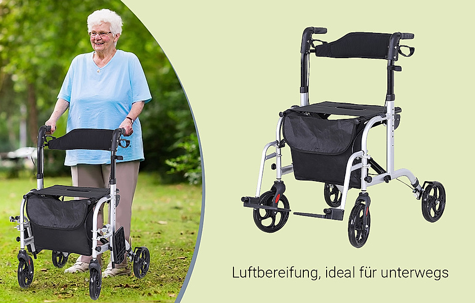 2 in 1 Funktion: Rollator und Rollstuhl in einem, mit bequemer Sitzfläche und schwenkbaren Fußstützen