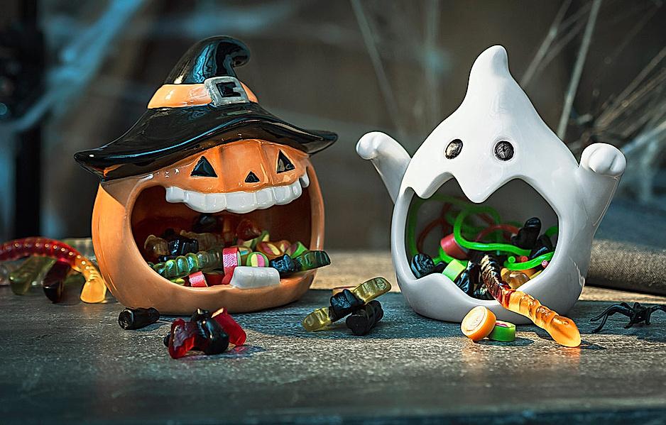 Deko-Schalen Halloween Geist und Kürbis, 2er Set