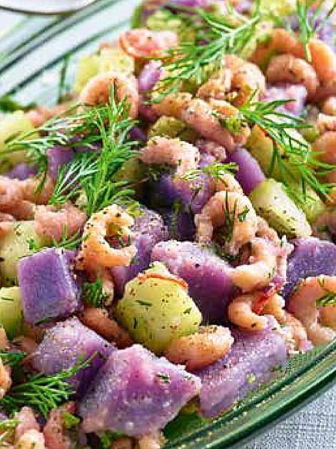 Rezept: Blauer Kartoffelsalat mit Nordseekrabben von Martina und Moritz