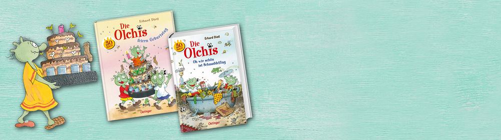 """30 Jahre Die Olchis    Die Olchis sind grün und haben drei Hörner auf dem Kopf.   Sie leben auf dem Müllberg von Schmuddelfing. Nun feiern sie ihr 30-jähriges Jubiläum und ihr könnt alles zu ihren alten & neuen Abenteuern hier entdecken.  {{ button href=""""/themenwelten/lieblingsstars-kinder/die-olchis"""" text=""""Zu den Olchis"""" }}"""
