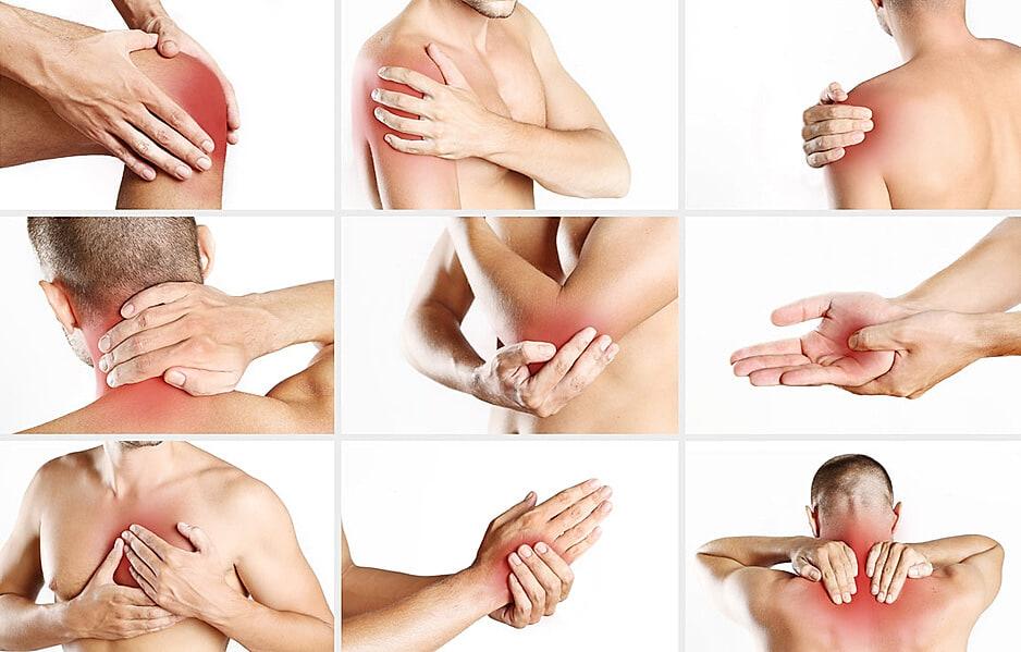 Rheuma: Foto mit neun Körperstellen an denen Rheuma-Symptome auftreten können