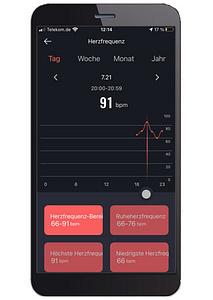 App-Aufzeichnung Herzfrequenz-Tag