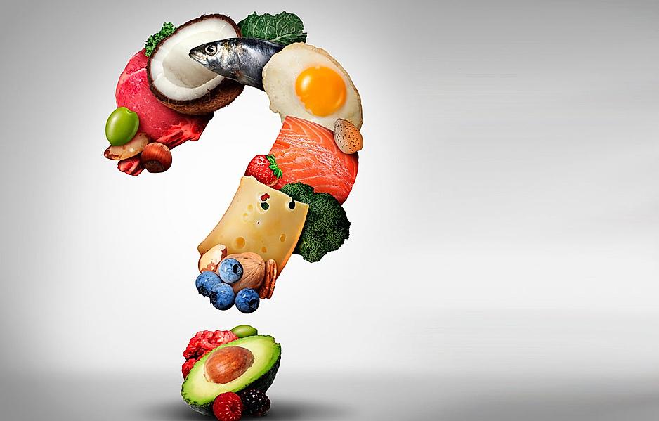 Fragezeichen bestehend aus vielen Low Carb Lebensmitteln