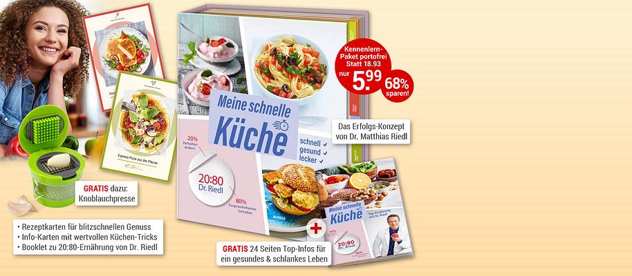 """#Blitzschnelle Rezepte  **Ihre Expressküche: gesunde Genuss-Rezepte**  Noch nie war es so einfach, sich schnell, gesund und lecker zu ernähren! Denn schnelle Küche mit frischen Zutaten ist der **Booster für Gesundheit und Figur**! Mit **Ruck-Zuck-Rezepten und klugen Küchen-Kniffen** ist nach spätestens **30 Minuten** das Essen fertig! Und das Beste: Mit dem erfolgreichen **20:80-Konzept von TV-Ernährungs-Doc Dr. Matthias Riedl** müssen Sie nur wenig ändern und es purzeln die Pfunde.  **Rezepte & kluge Küchen-Tricks für schnellen, köstlichen Genuss!**  * Rezeptkarten für blitzschnellen Genuss * Infokarten mit wertvollen Tipps & Tricks rund um Kochen und Ernährung * 24 Seiten Booklet zur 20:80-Ernährung von **Dr. Matthias Riedl**  **Sie werden begeistert sein, wie blitzschnell Sie gesund satt werden!**     {{ button href=""""/weltbild-editionen/kochen-backen/schnelle-kueche/bestellen"""" text=""""Jetzt bestellen""""}}"""