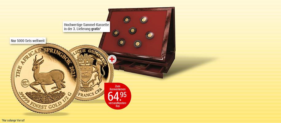 """# Goldmünzen-Klassiker in exklusiver Präsentation! 1967 begann die Erfolgsgeschichte des Springbock-Motivs auf der meistverkauften Gold-Anlagemünze der Welt, dem südafrikanischen Krügerrand. Zunächst wurde der Springbock aber 1961 nach der Unabhängigkeit Südafrikas auf einer 50 Cent-Münze ausgegeben. **Anlässlich des 60. Jahrestages erscheint dieser Jubiläums-Springbock 2021 und besitzt bald Raritäten-Status.**  Diese exklusive Münze ehrt den Klassiker auf einzigartige Art und Weise: in reinstem .99999 Gold! Greifen Sie darum gleich zu und holen Sie sich den Springbock in Ihre Sammlung - mehrwertsteuer- und versandkostenfrei!   1.000 Francs CFA   Gabun   2021,  0,5g  .99999 Gold, ø = 11 mm, Jubiläumsstempel: 60th Anniversary (60. Jahrestag)    {{ button href=""""/weltbild-editionen/schoenes-wertvolles/goldmuenzen-klassiker/bestellen"""" text=""""Jetzt bestellen""""}}"""