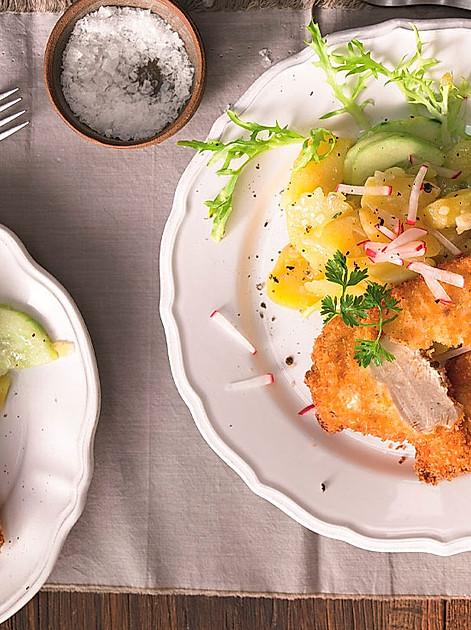 Rezept für Backhendl mit Kartoffelsalat