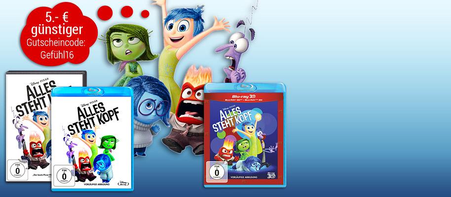 """#Alles steht Kopf - jetzt bestellen und 5.- € sparen!  """"Der beste Pixar-Film seit Jahren."""" (BILD) Der Animationsfilm **""""Alles steht Kopf""""** zeigt das turbulente Treiben unserer Emotionen Freude, Kummer, Wut, Ekel und Angst - kurz: Wie wir Menschen ticken.  Sichern Sie sich schon jetzt die Familien-Komödie """"Alles steht Kopf"""" auf DVD, Blu-ray oder 3D-Blu-ray und Sie erhalten **5.- € Rabatt** mit unserem Gutschein!   **Die Aktion gilt nur für die ersten 1.500 Besteller und bis maximal 07.02.2016 - schnell sein lohnt sich!**  ###Ihr Aktionsgutschein: Gefühl16###   **So einfach lösen Sie den Gutschein ein:**  1. Legen Sie den Film """"Alles steht Kopf"""" in den Warenkorb. 2. Geben Sie den Namen des Aktionsgutscheins im Warenkorb ein und schließen Sie Ihre Bestellung ab. Fertig!"""