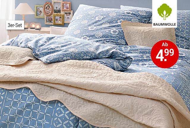 Stimmungsbild mit blauer Bettwäsche