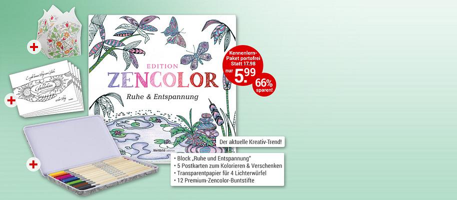 """#Edition Zencolor - ausmalen & entspannen Zarte Blüten und Schmetterlinge, filigrane Ornamente, herrliche Landschaften – mit den wunderbaren Motiven der Edition """"Zencolor"""" finden Sie Ruhe & Entspannung und schaffen dabei stimmungsvolle Bilder!        **Starten Sie mit """"Ruhe & Entspannung""""**    ##Ihr großes Kennenlern-Paket enthält: * Themen-Block """"Ruhe & Entspannung"""" im Format 21 x 21 cm mit 30 zauberhaften Motiven auf hochwertigem Karton   * 5 Postkarten   * 4 Bögen Transparentpapier für 4 Lichterwürfel   * 12 Premium Zencolor Buntstifte in hochwertiger Blechdose   * **Gesamtwert: ~~€ 17.98~~ für Sie nur € 5.99 **      Egal, wie hektisch und Nerven aufreibend Ihr Alltag auch sein mag: Finden Sie Ihren Weg zu Ausgeglichenheit und Kraft mit Ihrer hochwertigen Ausmal-Edition Zencolor.          {{ button href=""""/weltbild-editionen/hobby-praxiswissen/edition-zencolor/bestellen"""" text=""""Jetzt bestellen""""}}"""
