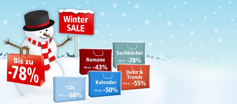 ## Grosser Winter SALE!##  Ausgewählte Artikel **bis zu 78%** reduziert!   Schnell sein lohnt sich - nur so lange der Vorrat reicht!  * **[Romane bis zu 43% reduziert](/sale/buecher/romane-erzaehlungen)** * **[Musik-Preishits bis zu 68% günstiger](/sale/musik)** * **[Sachbücher bis zu -78%](/sale/buecher/sachbuecher)** * **[Küchen-Schnäppchen bis zu 47% reduziert](/sale/haushalt-technik/kueche-haushalt)**  * **[Kreatives bis zu 39% günstiger](/sale/deko-geschenke)** * **[Krimis & Thriller bis zu 54% reduziert](/sale/buecher/krimis-thriller)** * **[Deko- & Trend-Schnäppchen bis zu -55%](/sale/deko-geschenke/trend-deko)** * **[DVDs & Blu-rays mit bis zu 45% Preis-Vorteil](/sale/dvd)** * **[Garten-Schnäppchen bis zu 50% günstiger](/sale/haushalt-technik/heimwerken-garten)** * **[Haushalts- & Heimwerker-Schnäppchen bis zu -45%](/sale/haushalt-technik)** * **[Kalender mit bis zu 50% Preis-Vorteil](/deko-geschenke/kalender/sale)**     **Jetzt losstöbern, entdecken und Schnäppchen sichern!**