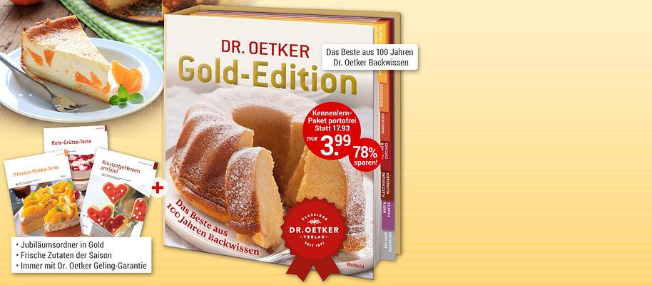 """#Rezepte, die Gold wert sind! – Dr. Oetker Gold-Edition Die besten Backrezepte aus **über 100 Jahren Dr. Oetker-Backerfahrung** für Sie neu zusammengestellt: köstliche Rezepte, allesamt in der berühmten Dr. Oetker Versuchsküche getestet und daher mit der legendären **Dr. Oetker Geling-Garantie**. Von klassischen Kuchen über raffinierte Modetorten bis hin zu köstlichem Kleingebäck. Alle Rezepte **immer passend zur Saison**. Backen, verwöhnen, genießen!  * **Extra Kapitel mit Tipps & Tricks zu Warenkunde und Rezepten** * **Immer mit tollen Varianten zu bewährten Klassikern, z. B. Apfelstrudel im Glas**  **Gleich ausprobieren und genießen!**  {{ button href=""""/weltbild-editionen/kochen-backen/Gold-Edition/bestellen"""" text=""""Jetzt bestellen""""}}"""