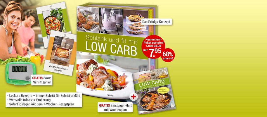 """#Genussvoll schlank, gesund und satt mit Low Carb Aus gutem Grund hat sich **Low Carb** zum **Ernährungstrend Nr. 1** entwickelt: Low Carb ist gesund, macht schlank und fit und schmeckt einfach köstlich! Die Kombination aus wenig Kohlenhydraten und frischem Obst, Gemüse, Fleisch, Fisch und hochwertigen Fetten **lässt die Pfunde purzeln** und bringt Sie genussvoll durch den Tag.  **Das Erfolgskonzept """"Low Carb"""" - genial einfach!**  Die tollen Rezepte der Edition """"Low Carb"""" sind schnell zubereitet, machen satt und **schmecken der ganzen Familie** - und dabei ist die Umstellung auf dieses Ernährungskonzept wirklich denkbar einfach!  * Leckere, abwechslungsreiche Rezepte für jede Gelegenheit - immer Schritt für Schritt erklärt * Wertvolle Informationen und hilfreiche Tipps zur gesunden Low-Carb-Ernährung * Schnelle Rezepte - immer mit Zeitangabe * Sofort loslegen mit dem 1-Wochen-Plan  **Sie werden begeistert sein, wie einfach Abnehmen sein kann - jetzt bestellen!**  {{ button href=""""/weltbild-editionen/hobby-praxiswissen/lowcarb/bestellen"""" text=""""Jetzt bestellen""""}}"""